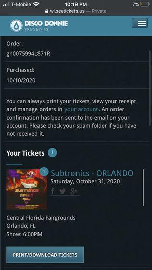 Subtronics Orlando Ticket for Sale in Orlando, FL