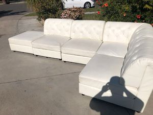 Couches -Wht leather- living room - sectional for Sale in Anaheim, CA