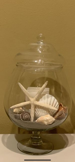 Glass Apothecary Jar with Sand,Seashells and Candle 15.5 in. H. for Sale in Mill Creek, WA