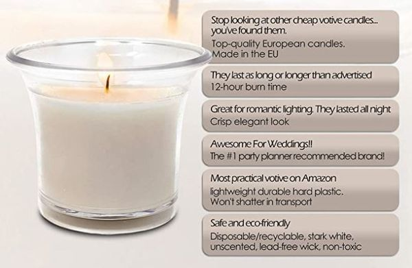 Classy Votive Candles - Perfect for Weddings, Parties or Setting the Mood!!