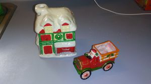 VINTAGE CHRISTMAS SANTA'S TOY SHOP AND SANTA'S TRUCK CANDLEHOLDERS for Sale in Voorhees Township, NJ
