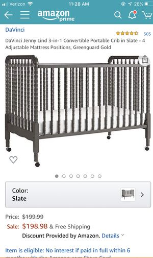 Like New! DaVinci Jenny Lind 3-in-1 Convertible Portable Crib in Slate for Sale in San Francisco, CA