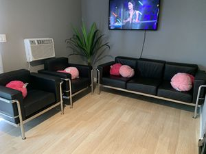 Modern black leather sectional sofa couch with two accent chairs for Sale in Chino Hills, CA