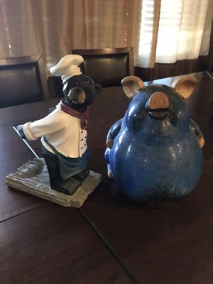 Bear Wine Bottle Holder or Cute Large Blue Decor Pig for Sale in Young, AZ