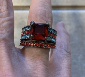 New 2 piece red sapphire silver wedding ring size 7 for Sale in Palatine, IL