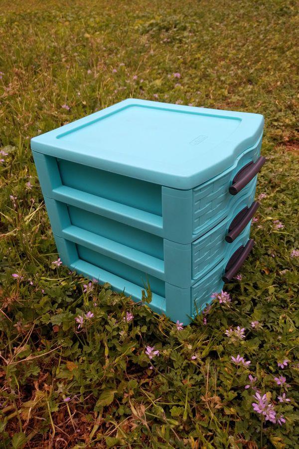 Blue plastic drawers