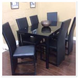 Branielle black temper glass dining room set $39 Down /// Financing available no credit needed Miriam's furniture 719 *E *9th *Street Hialeah *3 3 for Sale in Pompano Beach, FL