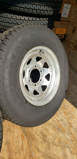 4 New 225-75-15 Trailer Tires on Galvanized Steel 6 lug Wheels/Rims 225/75/15 R15 inch tire for Sale in Moreno Valley, CA