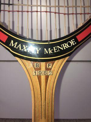 Vintage John McEnroe wooden tennis racket Max ply Dunlop 1982 for Sale in North Salem, NY
