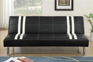 Black/ White Bonded Leather Sofa Futon for Sale in Visalia, CA