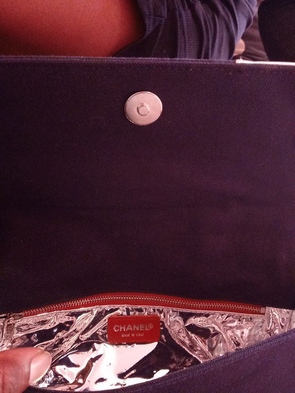 Chanel Navy Blue Canvas & Metallic Silver Leather Flap Bag (Very Good to Excellent Condition