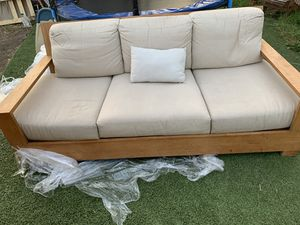 beige natural wood sofa excellent conditions for Sale in Hayward, CA
