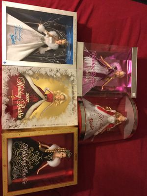 Lot of 5 Holiday Christmas Barbies 2001, 2003, 2005, 2006, 2007 for Sale in San Francisco, CA