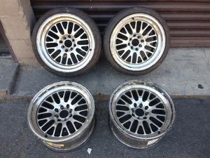 Chrome four lug wheels. 4 on 100mm or 4 on 4.5 one is cracked for Sale in Montebello, CA