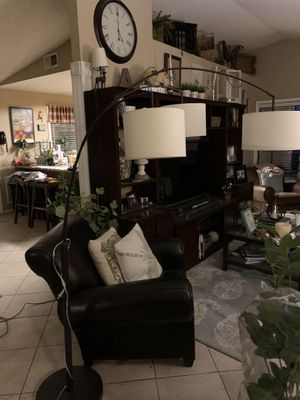 Beautiful tree shade Arc floor lamp heavy base for Sale in Colton, CA