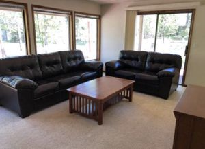 faux leather couch and love seat for Sale in Bend, OR