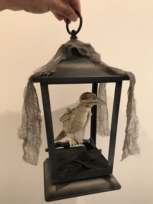 Animated bird inside cage sound and lights Halloween decorations props for Sale in Sierra Madre, CA