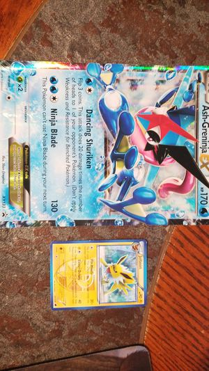 Pokemon Ash-Greninja Ex large card free Jolteon included for Sale in Pittsburgh, PA