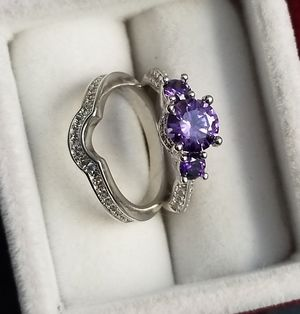 S925 Sterling Silver Purple Amethyst 2pcs Ring Set size 6 for Sale in Silver Spring, MD