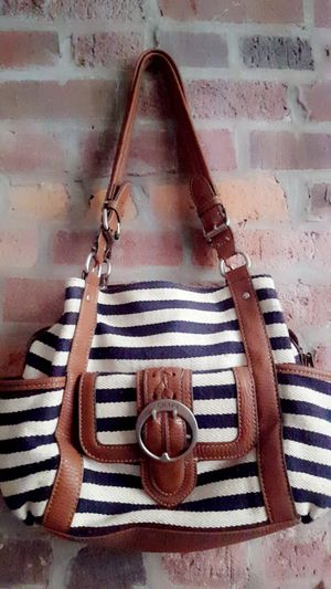 Cute blue and cream striped purse for Sale in Columbus, OH