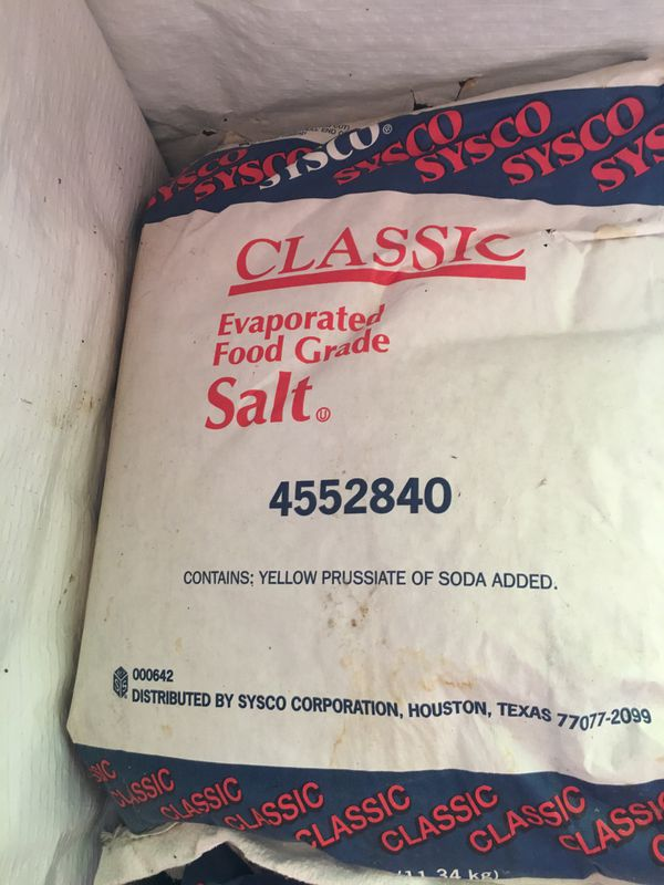 Sysco Evaporated food grade salt