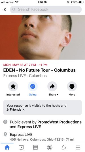 Eden concert tickets for Sale in Bellefontaine, OH