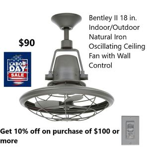 Bentley II 18 in. Indoor/Outdoor Iron oscillating fan with wall control for Sale in Bakersfield, CA