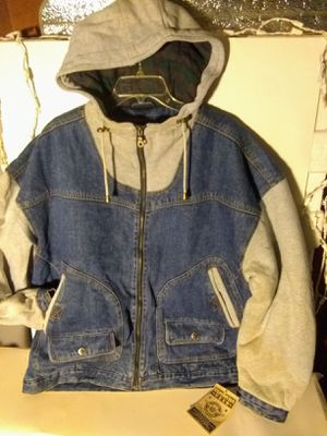 XL Expedition gear cotton and denim quilted hoodie jacket extremely comfortable and fashionable for Sale in Chicago, IL