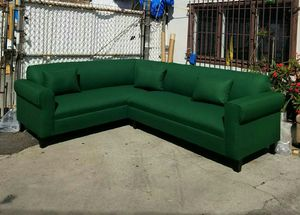 NEW 7X9FT EMERALD GREEN FABRIC SECTIONAL COUCHES for Sale in Porterville, CA