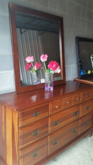 QUALITY SOLID WOOD LONG DRESSER 8 BIG DRAWERS WITH BIG MIRROR ALL DRAWERS SLIDING SMOOTHLY for Sale in Fairfax, VA