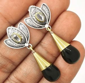 Two-Tone Lotus Black Onyx-Brazil & Herkimer Diamond 925 Earrings for Sale in San Francisco, CA
