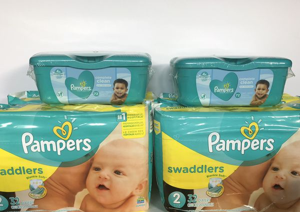 PAMPERS - 4 Pampers + 2 packs of Wipes $25 (you choose the sizes)