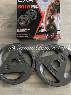 CAP 50 Lb Olympic Weight Plates (2) 25 Lb Plates for Sale in Fontana,  CA