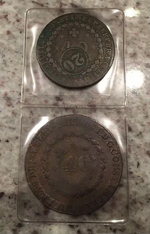 2 Heavy & Early 1800's Brazilian Counterstruck Trade Coins for Sale in Aliso Viejo, CA