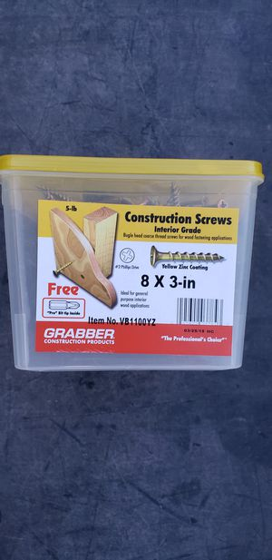 Grabber 8x3 construction screws for Sale in Henderson, NV