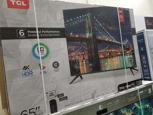 """65"""" LED SMART 4K ULTRA HDTV BY TCL WITH ROKU STREAMING. 6 SERIES BORDLESS TV. 2160P 240HTZ WITH HDR for Sale in Los Angeles, CA"""