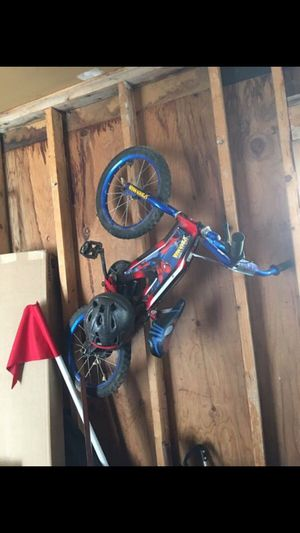 Spider-Man kids bike with two balance wheel and helmet for Sale in Millcreek, UT