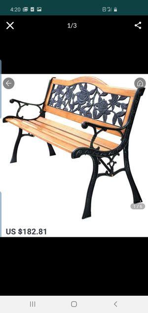COSTWAY Park Garden Iron Hardwood Furniture Bench Porch Path Chair for Sale in El Monte, CA