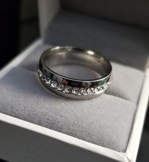 Men/Women 18k White Gold over Stainless Steel CZ Diamond Wedding Band Size 6,7,8,9,10,11,12 for Sale in Aspen Hill, MD