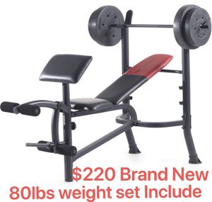 Weider Pro265 workout bench with 80lbs weight set for Sale in Puyallup, WA