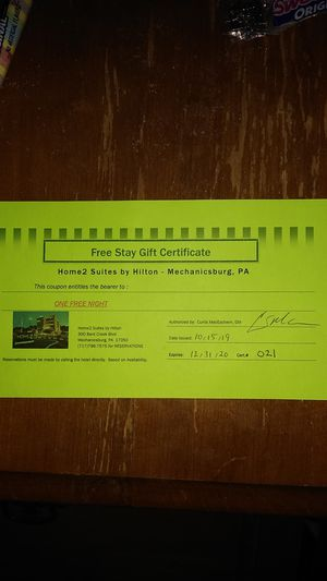 One night stay certificate. Home2 Suites by Hilton. Mechanicsburg PA. Certificate expires 12/31/2020 for Sale in Harrisburg, PA