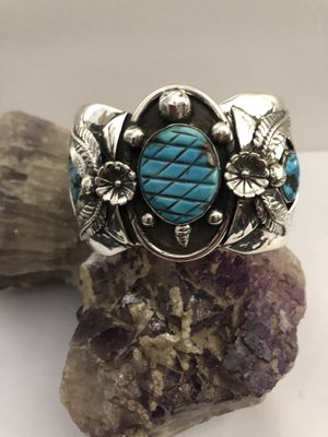 Hand Carved Turquoise Turtle Shadow Box Sterling Silver Turquoise & Coral Cuff Bracelet 92.4g New for Sale in Phoenix, AZ