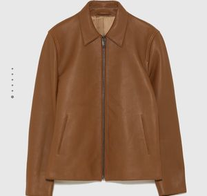 Men's BRAND NEW ZARA Genuine Leather Jacket Brown sz XL for Sale for sale  Queens, NY