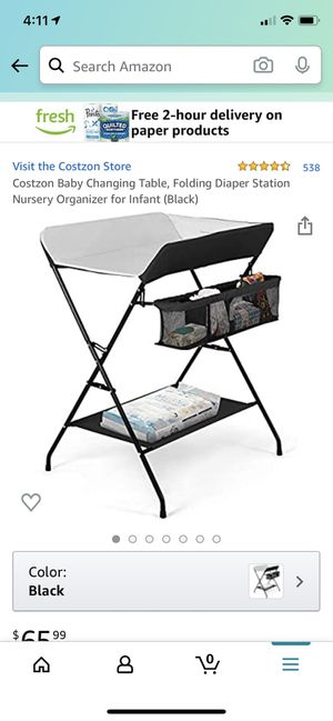 Costzon black folding changing table for Sale in Dallas, TX