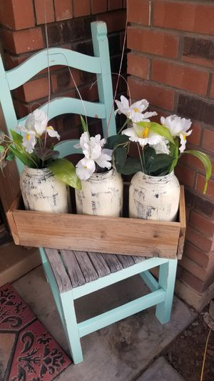Mason jar decor wooden box with greenery, great gift or party housewarming home decor for Sale in Chandler, AZ