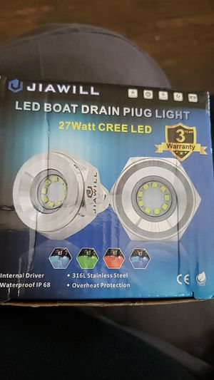 """Jiawill 316L Stainless Steel Underwater 1/2"""" NPT 9 to 30V 27w Boat Drain Plug Light with Internal Driver for Sale in Fontana, CA"""
