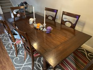 Wood dining table with 6 chairs for Sale in Newcastle, WA