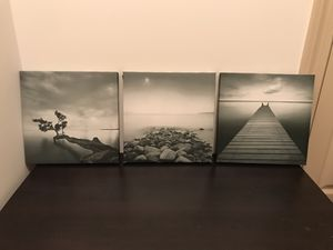 Black and white canvas water photo set for Sale in Richmond, VA