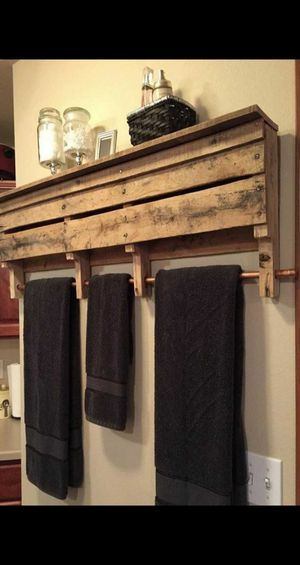 Made to order personalized towel track with shelf for Sale in San Angelo, TX