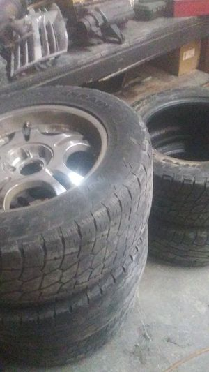 20 inch rims 4 rims with 2 extra tires 250 obo for Sale in Salt Lake City, UT